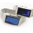 F03715-I Fashion Stainless Steel 72 LED Light Lover's Wrist Watch for Men Women +Gift Case