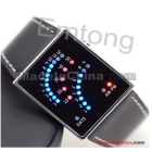 New Fashion Style Mix Color LED Digital Men Lady Women Leather Back Case Black Band Sport Cool Light Wrist Watch W137