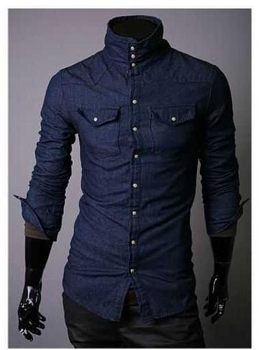 Features high collar 100 cotton double pocket denim shirt for Mens high collar dress shirts