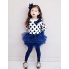 5sets/lot  Free shipping Wholesale child  boy girl clothes set sets   /Bow T + gauze pants piece suit: long-sleeved T-shirt + culottes 1175208761