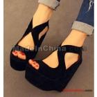 Han edition fish mouth high-heeled platform high heels sandals black summer new nightclubs detonation model of women's shoes