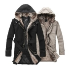 Men Jacket!Fashion Men's  Fur Coat for Winter Jackets/Parka Coat Long Man Clothes/Overcoat,Beige/Black Color,Free Shipping