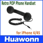 3.5mm Audio jack Volume Adjustable Retro POP Phone Handset for  4/ Black Color Free Shipping+Drop Shipping