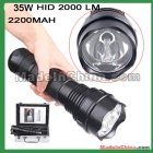 free shipping 35W/28W/20W -Bright HID Xenon Waterproof Flashlight  lamp Black + inerphone gift