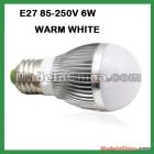 10pcs/lot Free Shipping 6w E27160LM high power WARM WHITE led lamp led lightiing led bulb lamp YC-light09