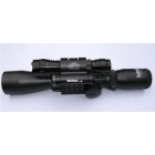 New BU 3-9X40 E tri weaver rail rifle scope with red Laser dot 501B flashlight