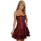 Sexy Red Corset Mini Party Dress With Black  Lingerie, Fashion Bustiers Retail Wholesale 016-XY