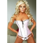 Sexy Satin Style Pink & Black Fashion Boned Corset With , Corsetry Bustier With G-string 002-XY