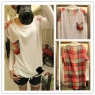 Free shipping 2012 new women's fashion Splicing plaid loose t-shirt 402-8503 shirt jacket
