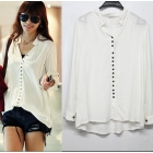Free shipping summer women's white shirts outerwear,women blouses