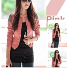 Free shipping New Arrival Women's Faux Leather Jacket,PU Lapel Coat,Outerwear 4 colour ,size M,L,XL