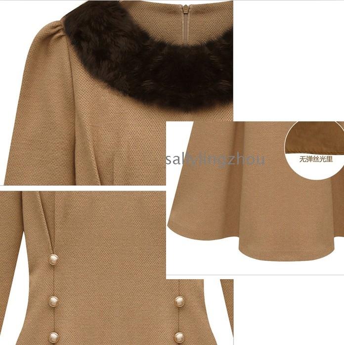 e31221229e Fur Beaded wool dress for winter dress ladies – Wholesale Free ...