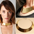 Wholesale-New Collar Curved Wide Necklace Luxury Gold-tone Metallic Choker Fashion Women#84