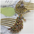 Wholesale -New  Bronze Flower Peacock Hairpin Crystal Rhinestone Hair Clip Barrette#E591