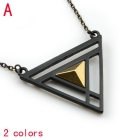 2PCS/LOT ,Free Shipping ,Wholesale 2 colors long chain designer metal black trangle inlay Pyramid pendant necklace  ,NL-1896