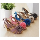 Designer shoes mouth fish mouth flowers wedges FenHui m blue purple sandals high-heeled shoes more color