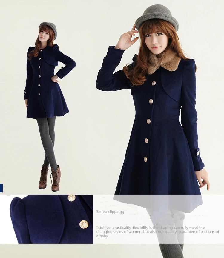 Womens Navy Blue Winter Coat VAYvqU