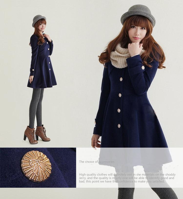 Buy Free shipping Korean New women's winter navy blue woolen coat ...