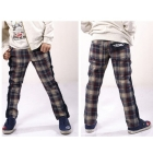 free shipping ! Children's autumn grid leisure trousers