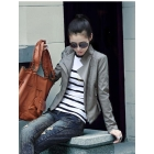 The brief paragraph small waist han leather coat jackets locomotive women's clothing