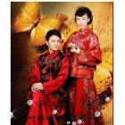 The traditional Chinese wedding dress the costume show and men with ma3 jia3 married into the jacket wine ancient clothing