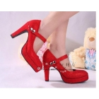The bride wedding bride red high heels buckle shoes wedding dress with Chinese dress shoes  high heels
