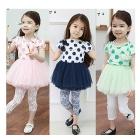 Children's wear summer wear new girl children dot fair maiden super peng nets yarn  short-sleeved dress son