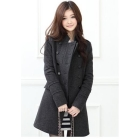 Free Shipping 2012 Winter new women's coat standing collar casual jacket Slim double-breasted coat cashmere woolen coat