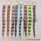 Free Shipping Feather Clip In Synthetic Hair Extension Color Stripe Sliky Straight Hair Weaving