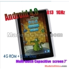 "7"" Allwinner A13 Capacitive Touchscreen Android 4.0 ICS Tablet PC 1.5GHZ 512/4GB 3G Camera WIFI"