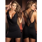 Sexy Damen Wei Open Back Tank-Style-Curve umarmt Bodice Gerade Saum Kleid Rock S2328