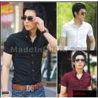 Male short-sleeved dress smock half sleeve no-iron business tooling pure white stripe shirts