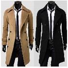 men's unique slim double faced kuruksetra outerwear long design double breasted wool coat