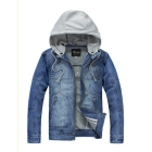Men's casual cotton cowboy jacket / jean coat with removable hoodie free shipping 8JK17