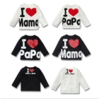 Wholesale - -8pcs/lot I love mama papa Rendering  Long-sleeved boys girl's T-shirt 1-3years