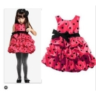 Wholesale-Wholesale-6 pcs/lot LCH HMM Polka Dot bows Girls  Kids cake  Silk dress red gray 1-12 years