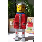 free shopping Wholesale -1pcs/lot Winding walking tin toys MS-645 robot Mr Dual power  can opened battery 22cm