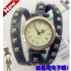 Genuine leather !  roman dial retro finishing strap Women watch multi color box