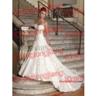 White a line strapless sweetheart beaded embroidery chapel train satin wedding dress