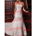 Gorgeous A line Strapless Beading Applique Satin Wedding Gown