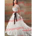 White Ball Gown  Square Neckline With Waist Ribbon Chapel Train Taffeta  Dress