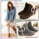 Free Shipping Wholesale New Hot Sale fashion elegant comfort casual cute bow  round female riding large size flat ankle boots EU34-43
