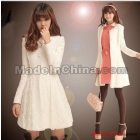 Free Shipping Wholesale wild Fashion 2012 women's Korean girl brand autumn winter new white sweety wool coat sleeve wool coats
