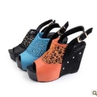 free shipping Riveting set auger mesh bag with muffin bottom hollow out high with sexy woman shoes fish mouth sandals