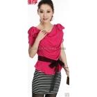 free shipping Fashionable women's chiffon stripe short-sleeved dress skirt size S M L XL B3