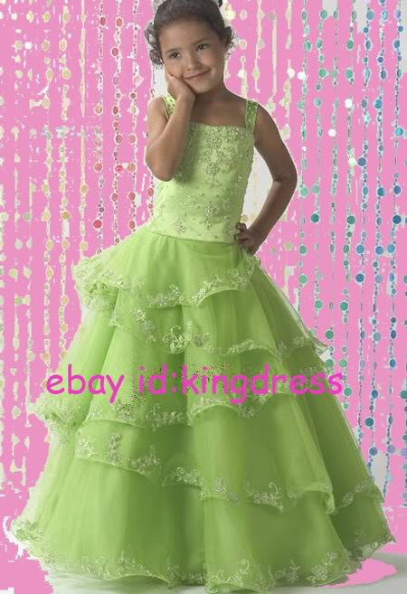 Fashion 2013 Cute Sell Green Flower Girls Dresses Dancing Party