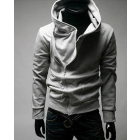 2012 new winter jacket Men oblique zipper hooded sweater Korean Slim Men's gray hoody sweater