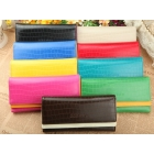 2012 Korea new Fashion woman's candy-colored crocodile pattern purse long purse wallet