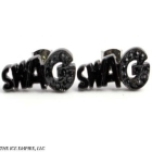BLACK on BLACK Finish Hip Hop Bling Slang SWAG Black CZ Stud Earrings-E120