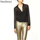 Free Shipping polka dot round dot  fashion chiffon women's long-sleeve shirt Size : XS - XXL